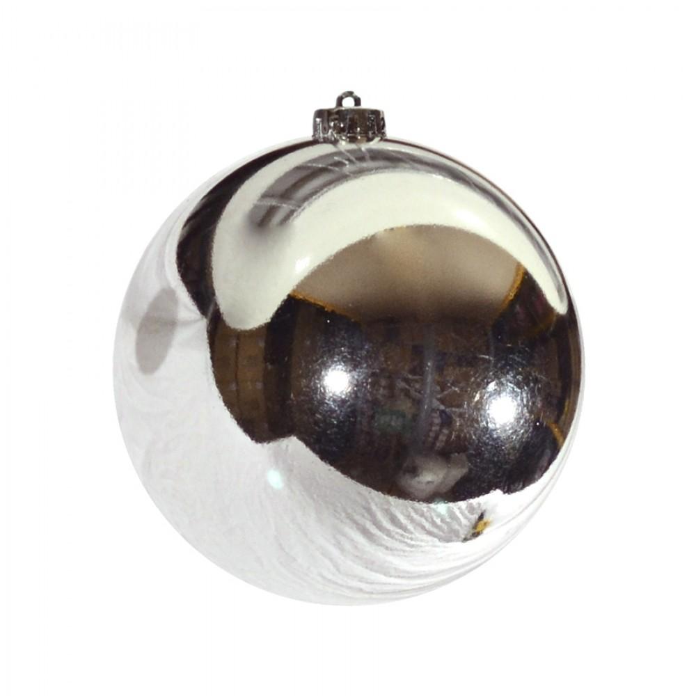 15 cm julekugle, blank sølv-32