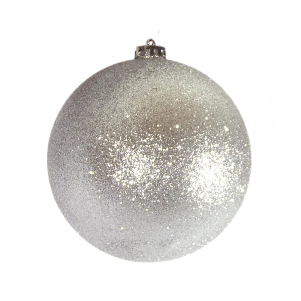 15 cm julekugle, glitter sølv-32