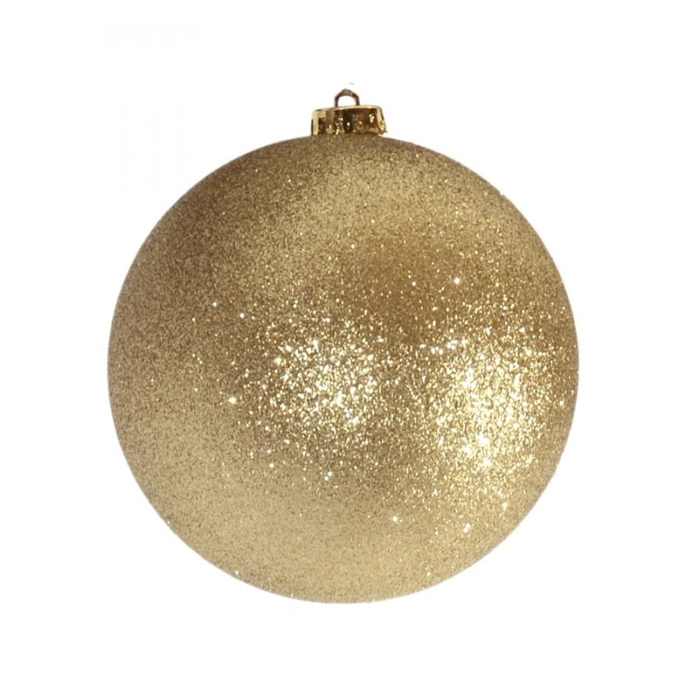 15 cm julekugle, glitter guld-32