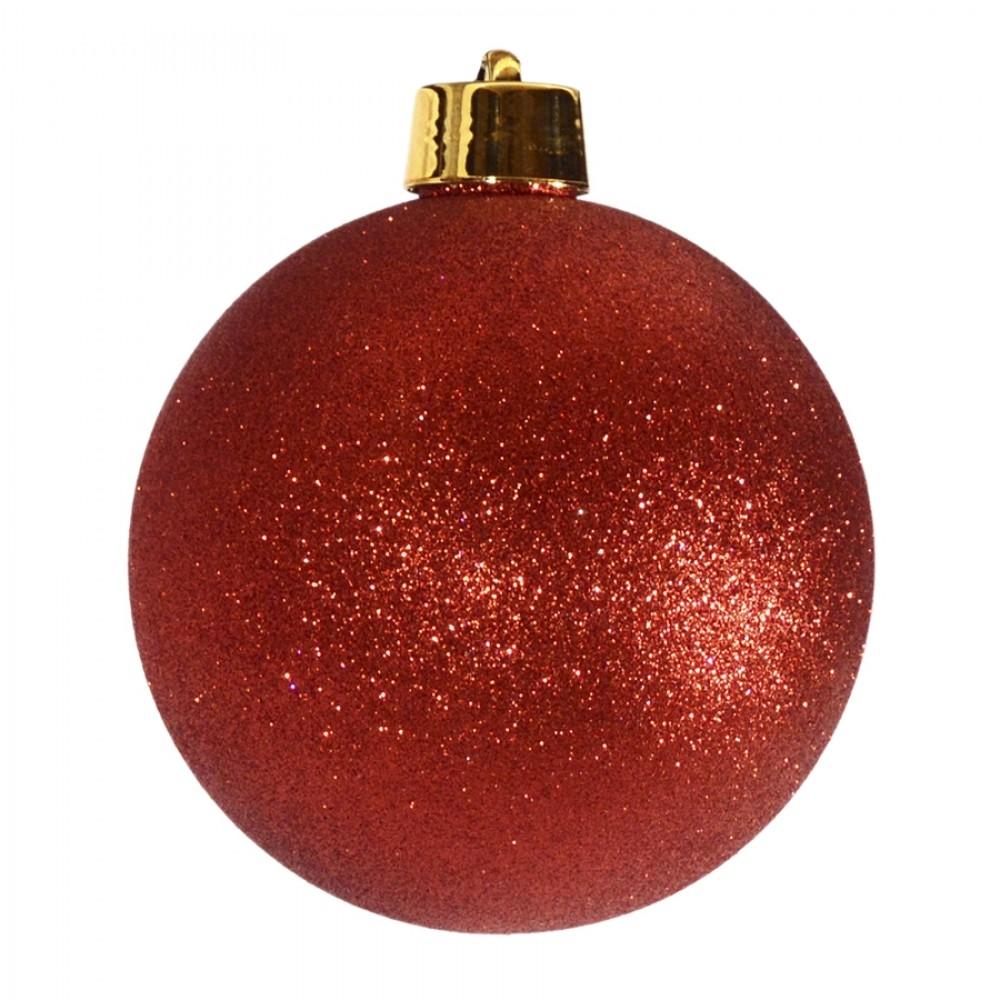 20 cm julekugle, glitter rød-32