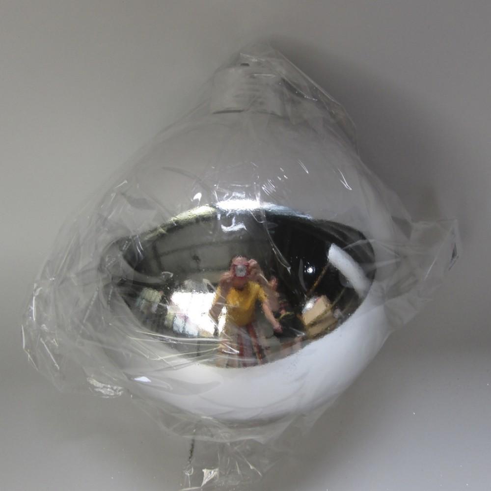 20 cm julekugle, blank sølv-31