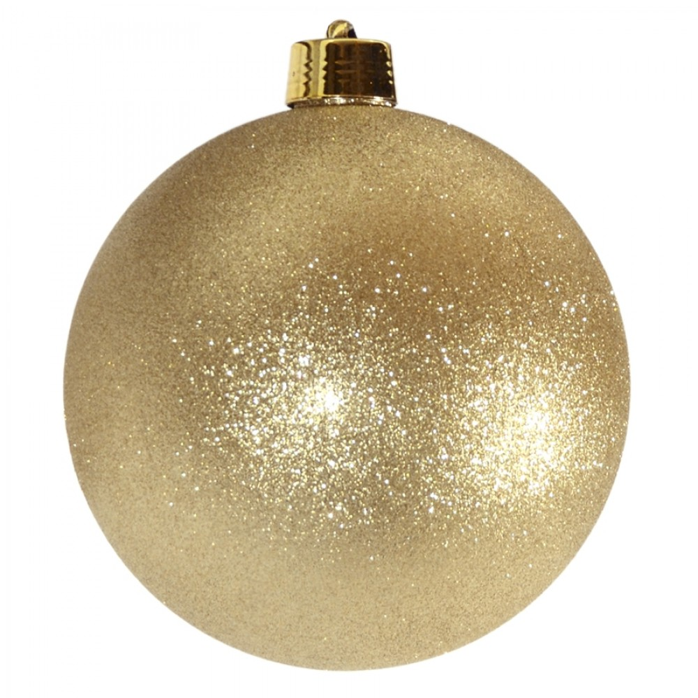 25 cm julekugle, glitter guld-32
