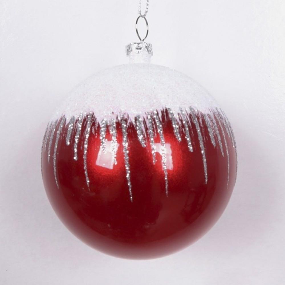 8 cm kugle, perlemor, rød m/sne, hvid og sølv glitter-01