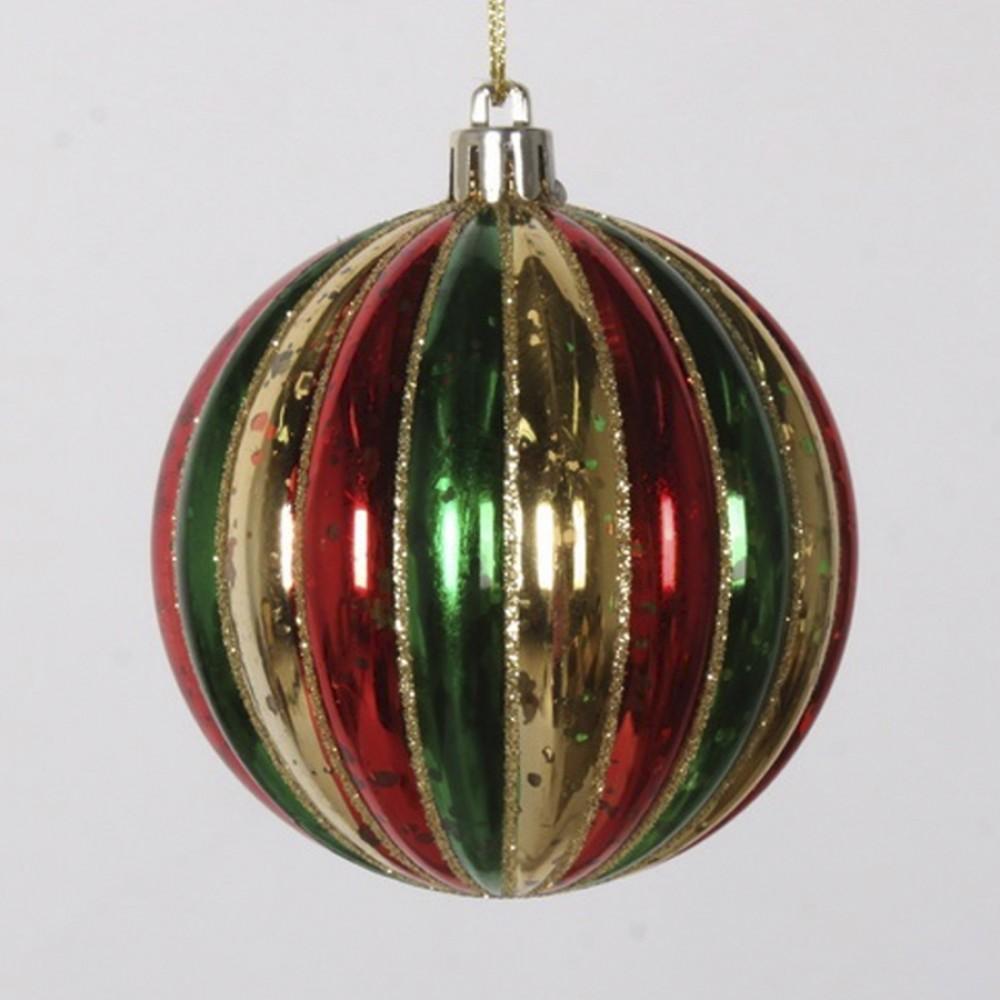 8 cm julekugle, stribet mercury, guld, rød, grøn-31