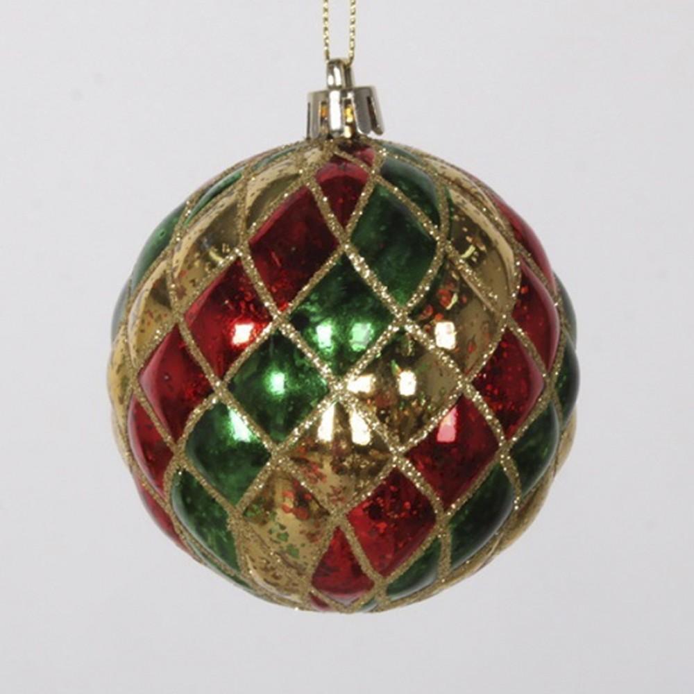 8 cm julekugle, harlekin mercury, guld, rød, grøn med guld glitter-31