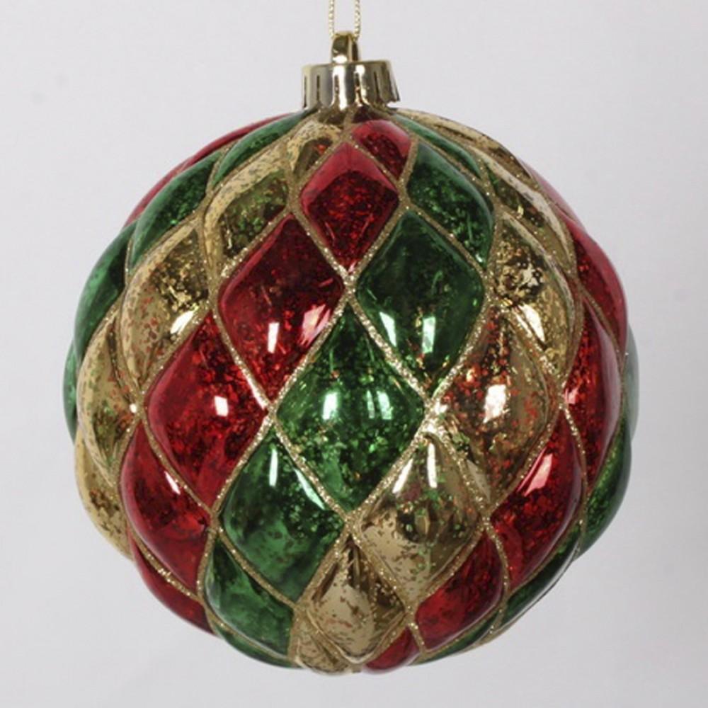15 cm julekugle, harlekin mercury, guld, rød, grøn med guld glitter-31