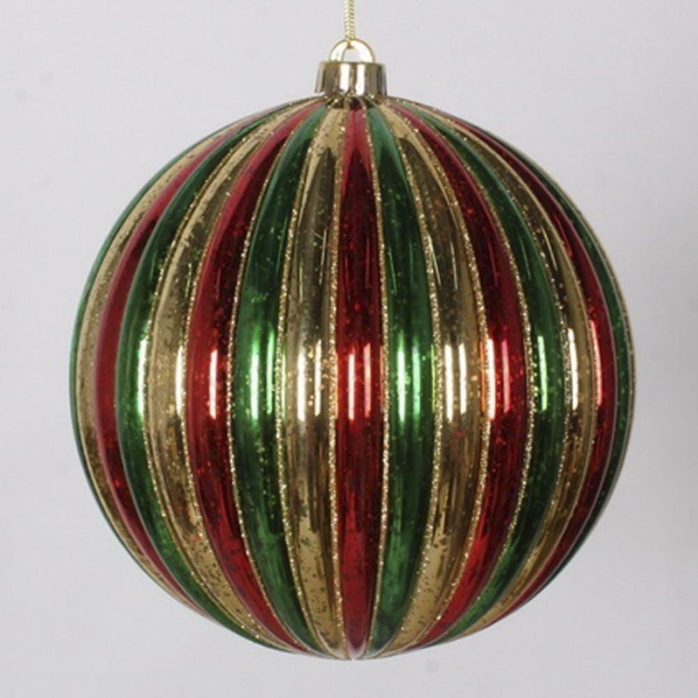 20 cm julekugle, stribet mercury, guld, rød, grøn med guld glitter-31