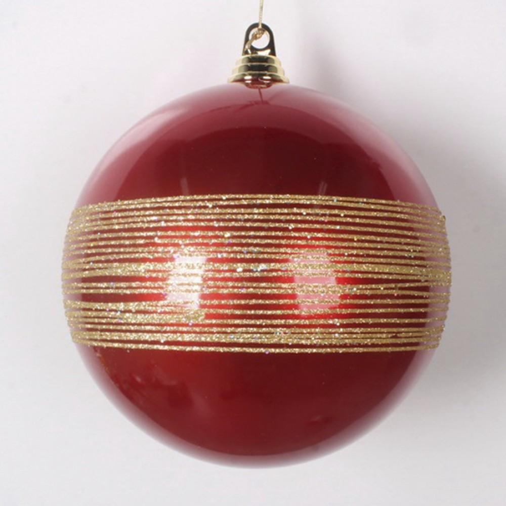 20 cm julekugle, perlemor rød med guld glitter-31