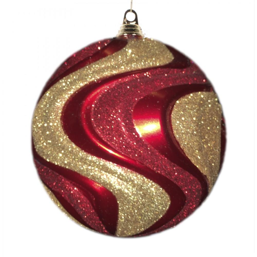 20 cm julekugle med bølger, perlemor rød med guld og rødt glitter-32
