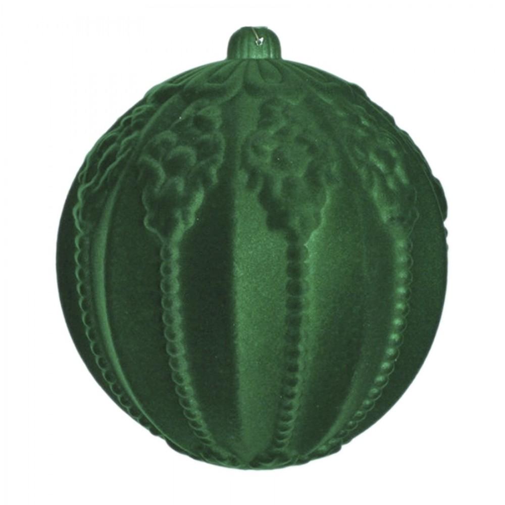 20 cm julekugle med ornamentering, grøn velour-02