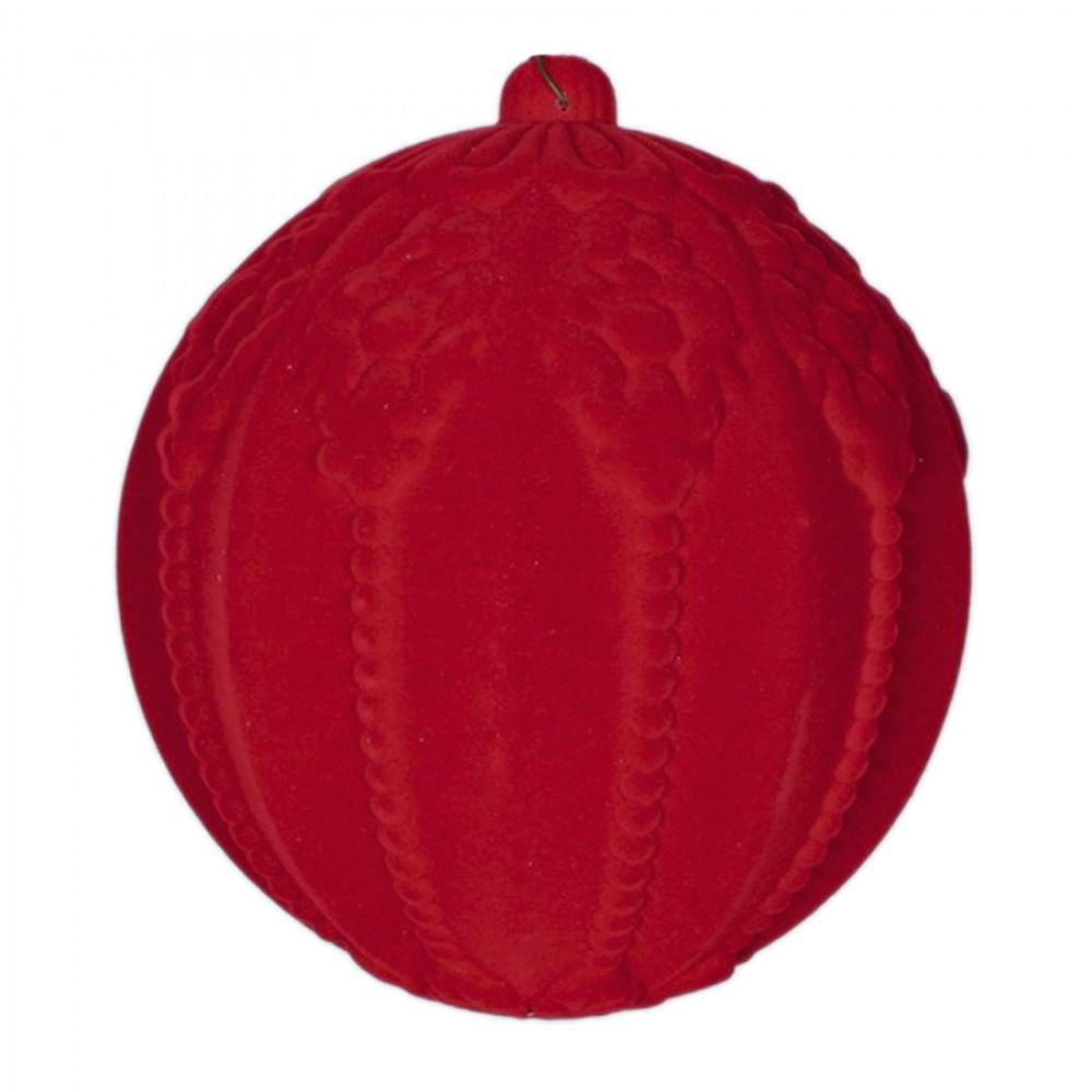 20 cm julekugle med ornamentering, rød velour-32