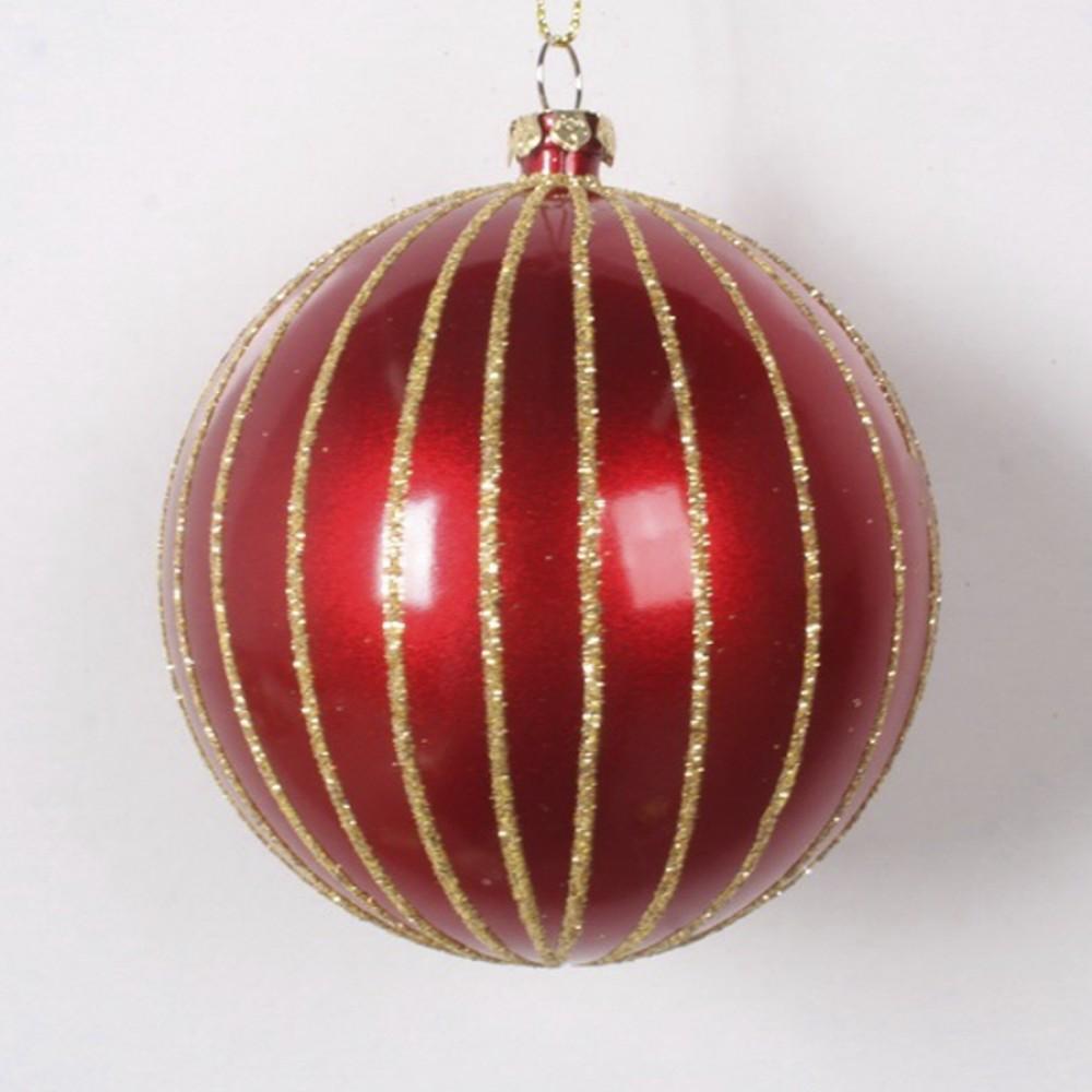 8 cm julekugle, perlemor rød med guld glitter-31