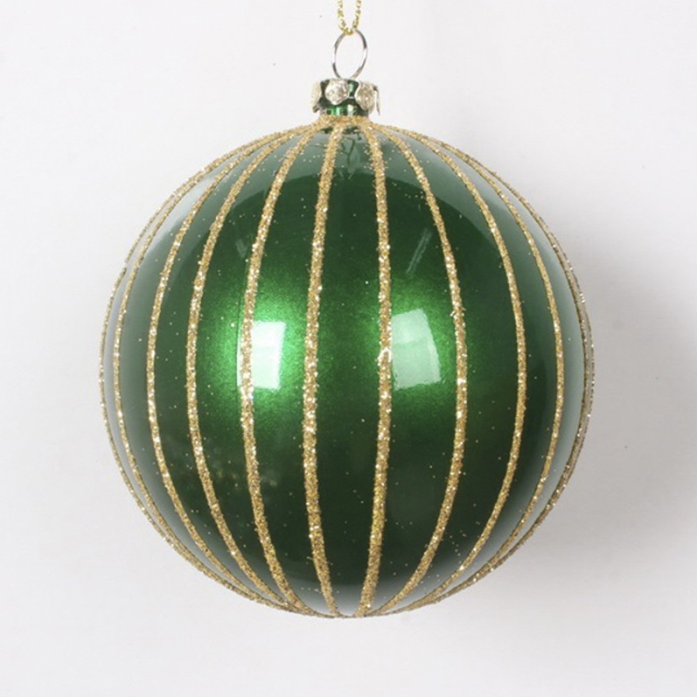 8 cm julekugle, perlemor grøn med guld glitter-31