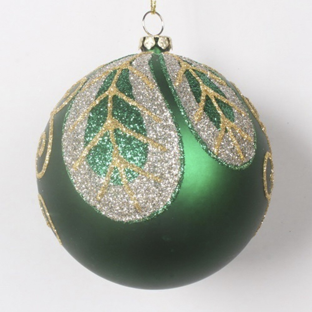8 cm julekugle, mat grøn med blad-31