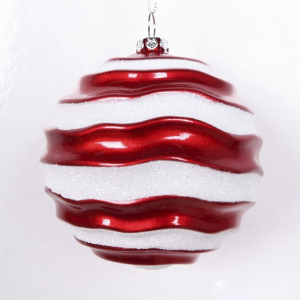 8 cm julekugle, perlemor rød med bølger af hvidt glitter-31