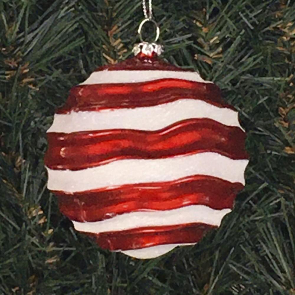 8 cm julekugle, perlemor rød med bølger af hvidt glitter-01