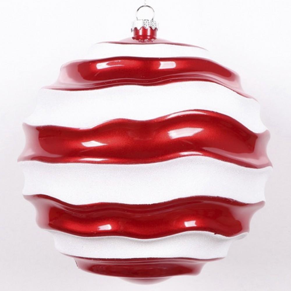 20 cm julekugle, perlemor rød med bølger af hvidt glitter-31