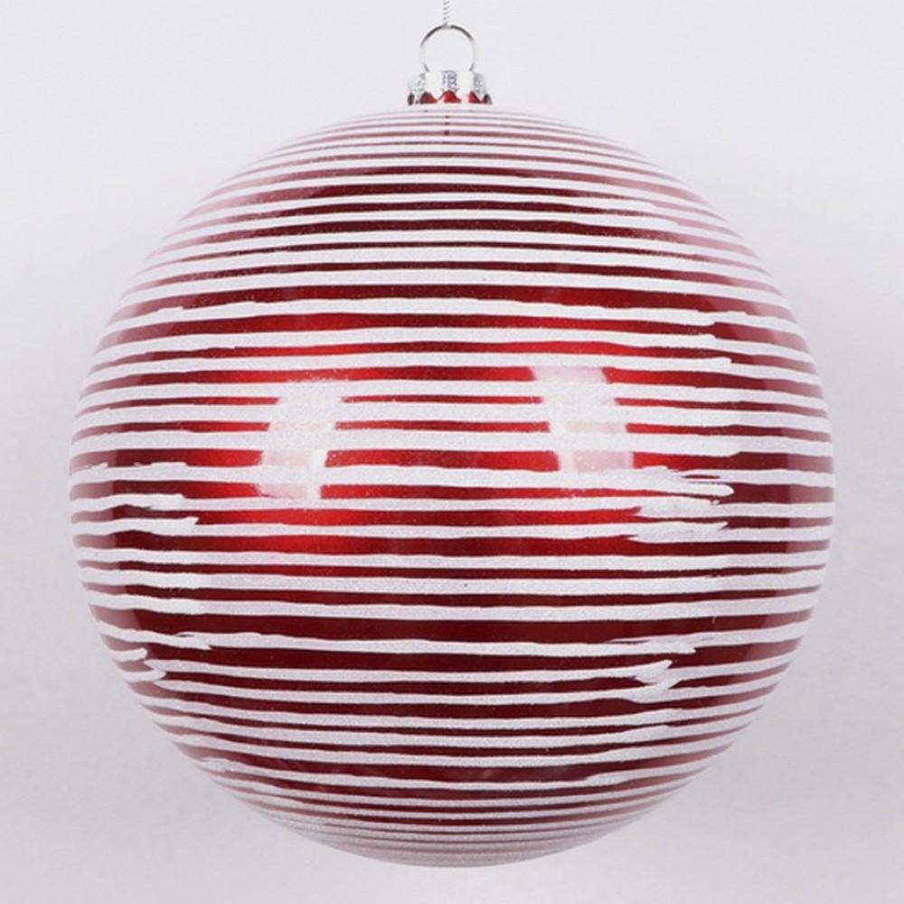 20 cm julekugle, perlemor rød med vandrette penselstriber-31