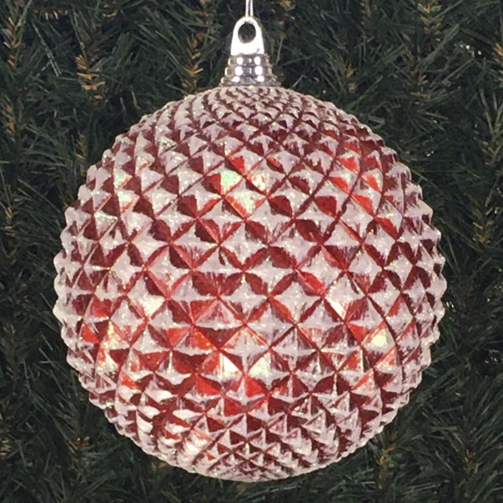 20 cm julekugle, durian, perlemor rød med hvidt glitter-01