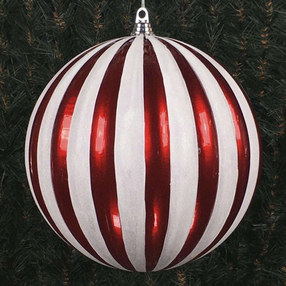 30 cm julekugle, lodrette striber, perlemor rød med hvidt glitter-31
