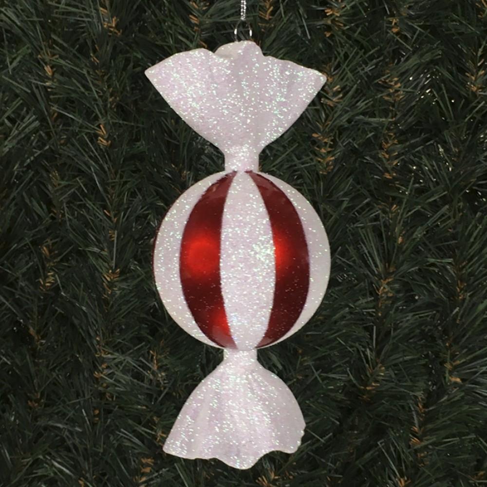 18 cm rundt slik, rød perlemor med hvidt glitter peppermint-31