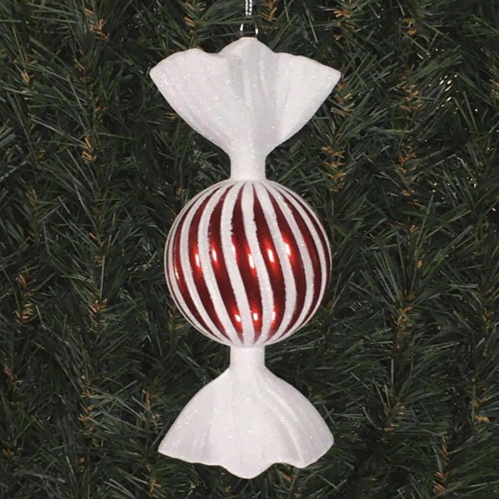 18 cm rundt slik, perlemor rød med swirl og haler i hvidt glitter-31