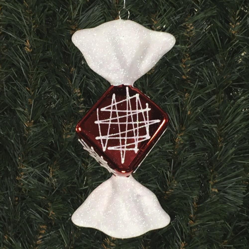 19 cm diamond slik, blank rød med hvidt glitter og haler-31