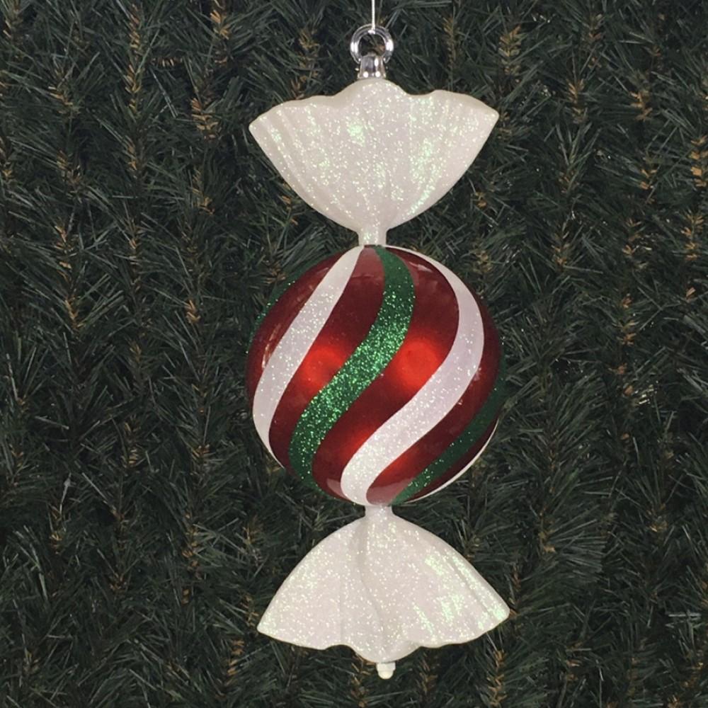 33 cm rundt slik, perlemor rød med hvidt og grønt glitter-31