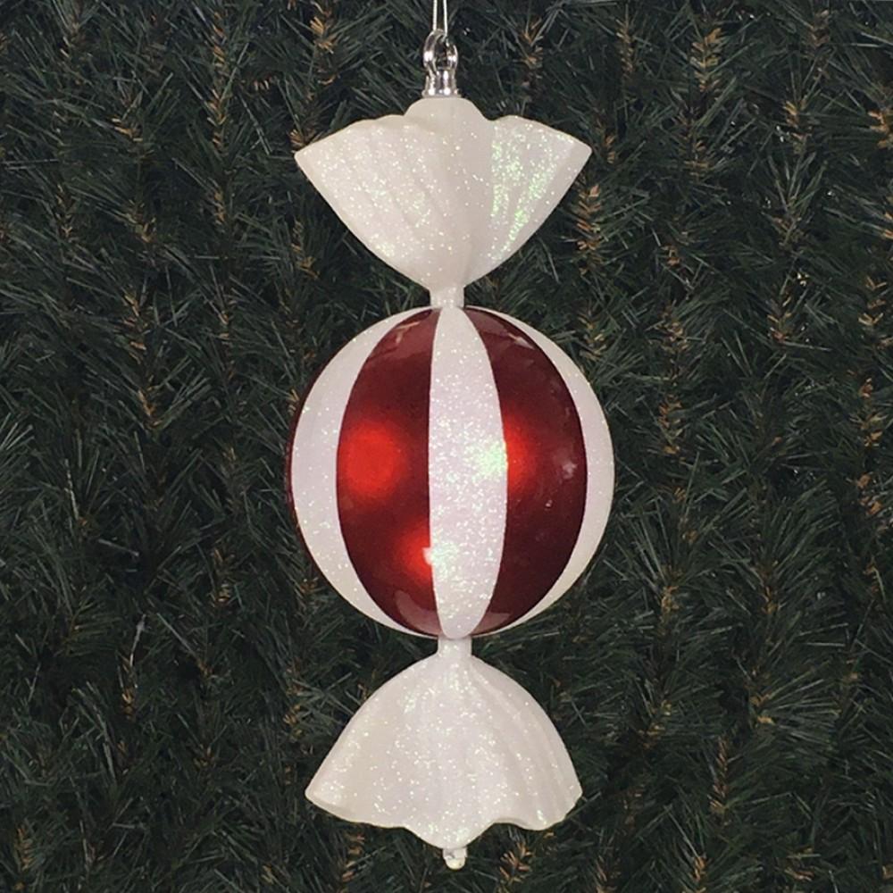 33 cm rundt slik, perlemor rød med hvidt glitter og haler-31