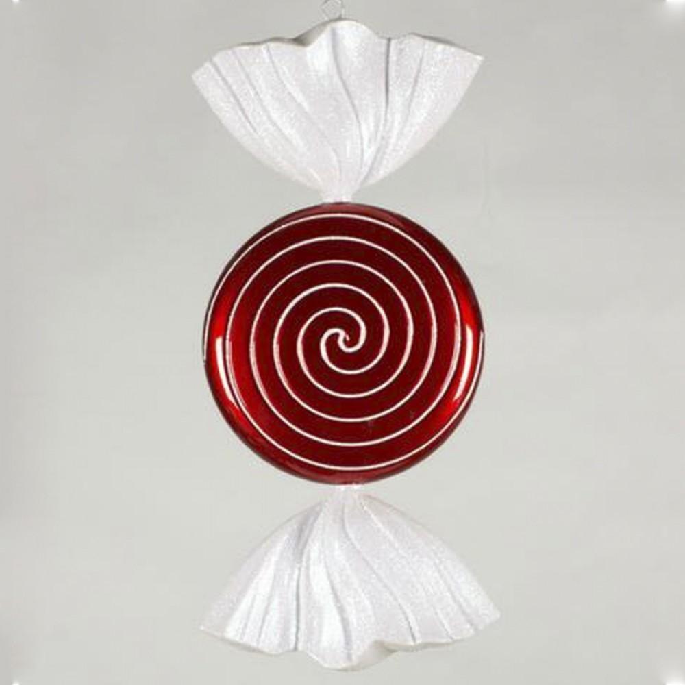 46 cm fladt rundt slik, perlemor rød med hvidt glitter-01