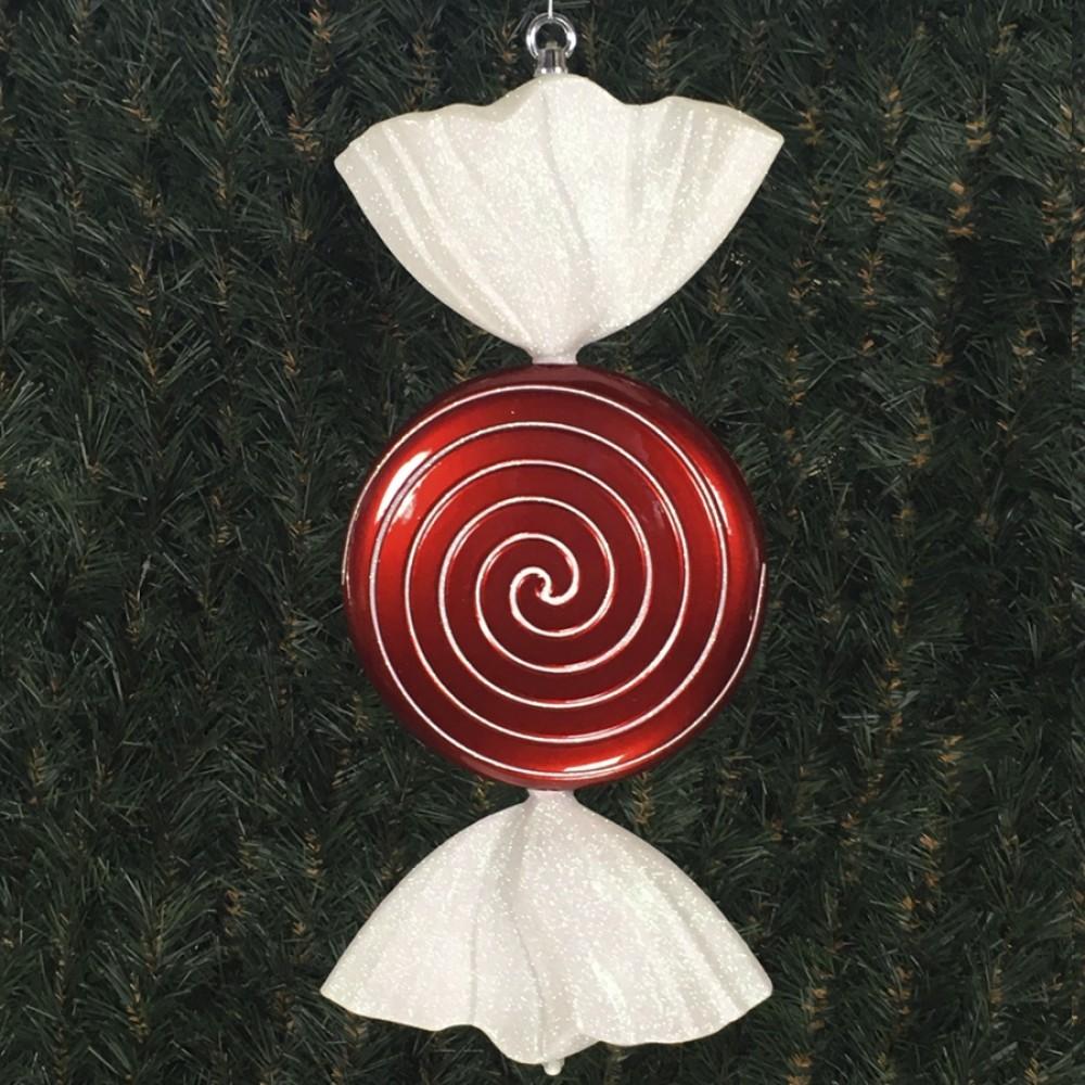 46 cm fladt rundt slik, perlemor rød med hvidt glitter-31