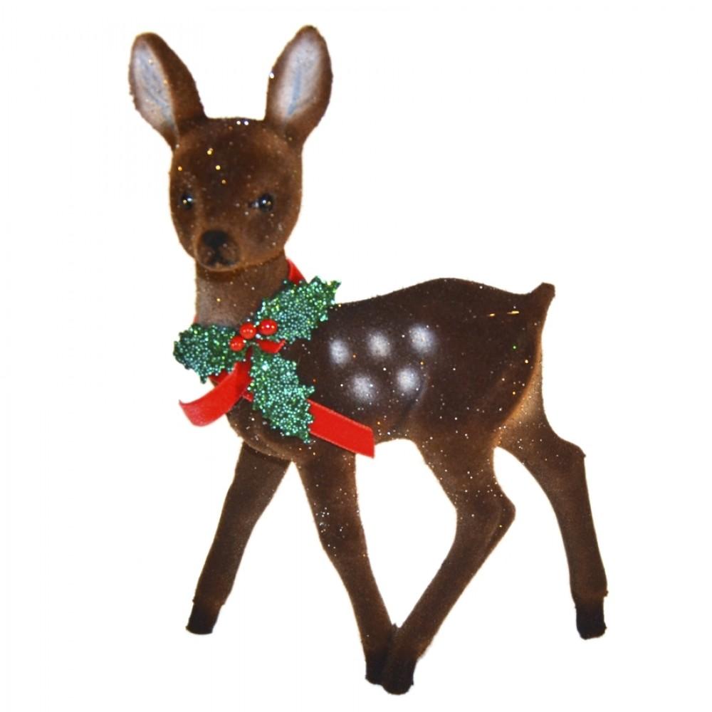 Bambi, 22x15 cm, brun velour med glitter og kristtjørn deko-31