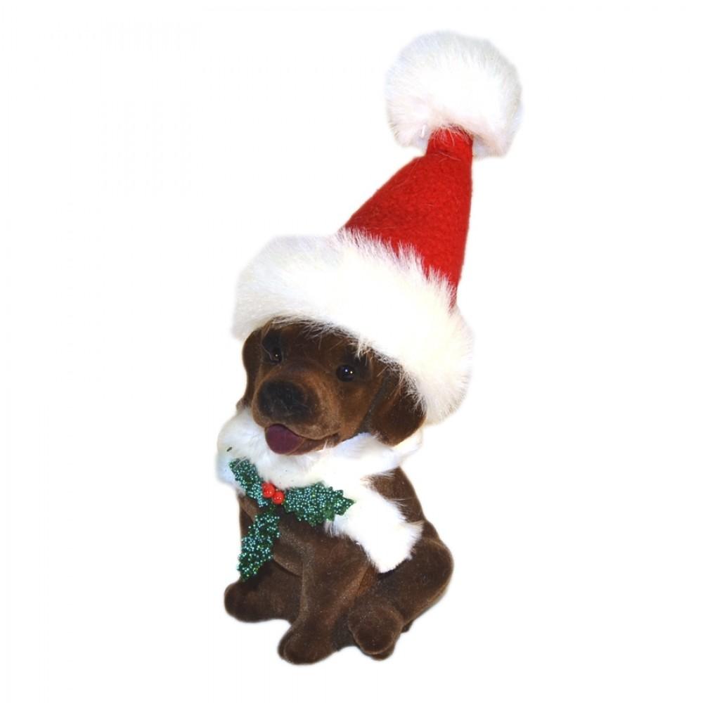 Hund med nissehue, brun velour-31