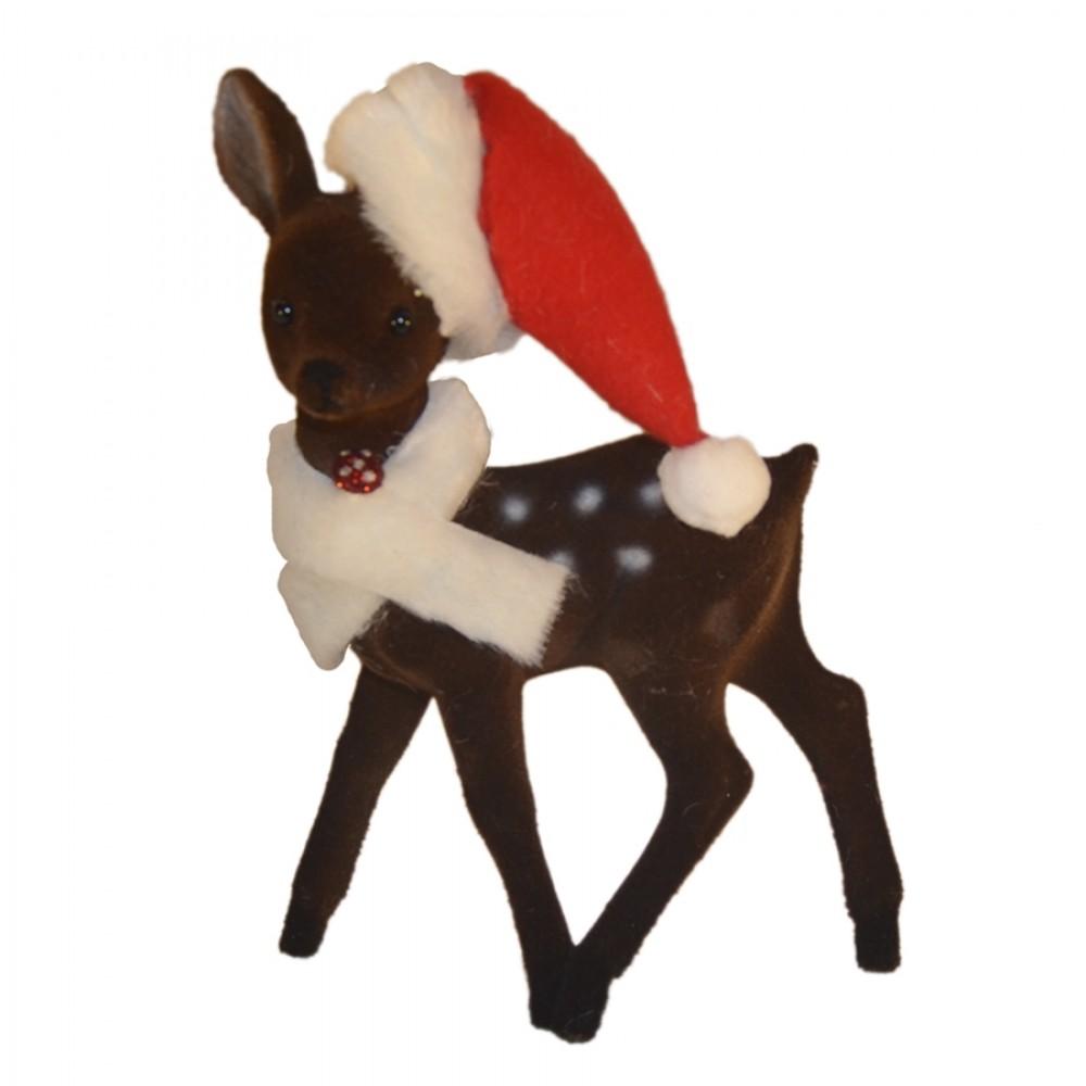 Bambi, 22x15 cm, brun velour med nissehue og krave-31