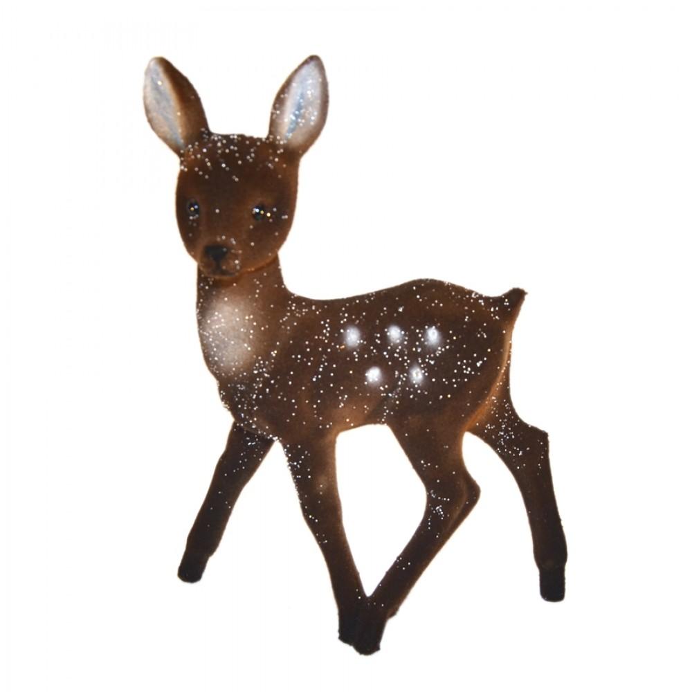 Bambi, 22x15 cm, brun velour med sne-31