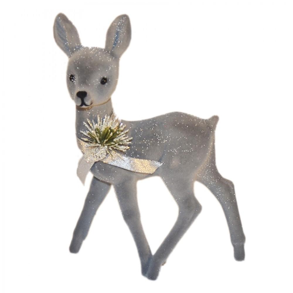 Bambi, 22x15 cm, grå velour med sne, sløjfe og deko-31