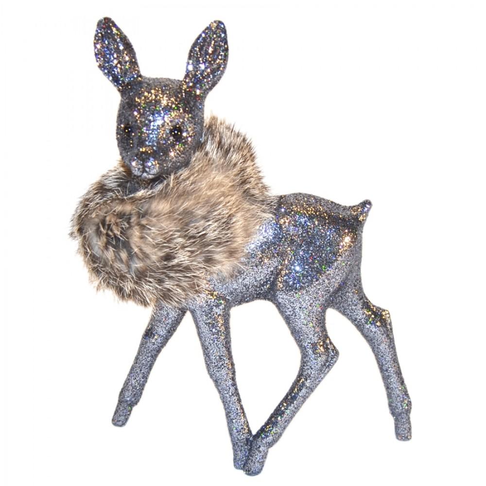 Bambi, 22x15 cm, grå glitter med natur pelskrave-31