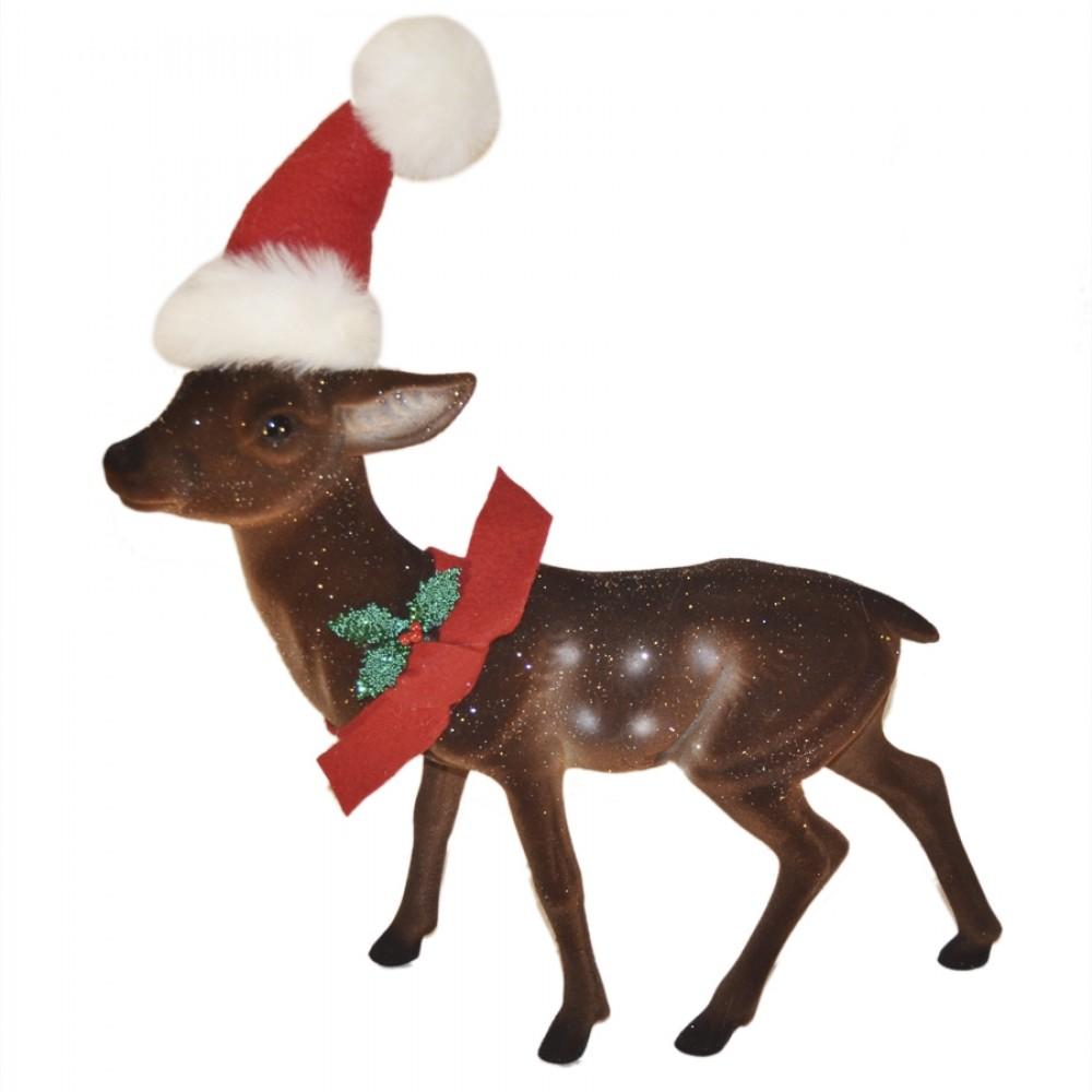 Rensdyr, 40 cm, brun velour med glitter, nissehue, rød sløjfe og kristtjørn-31