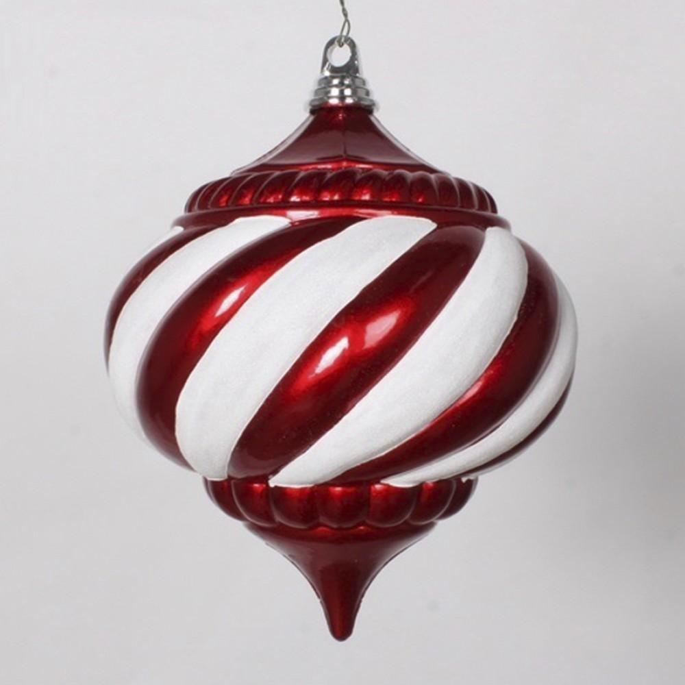 20 cm julekugle, onion, perlemor rød med hvidt glitter-31