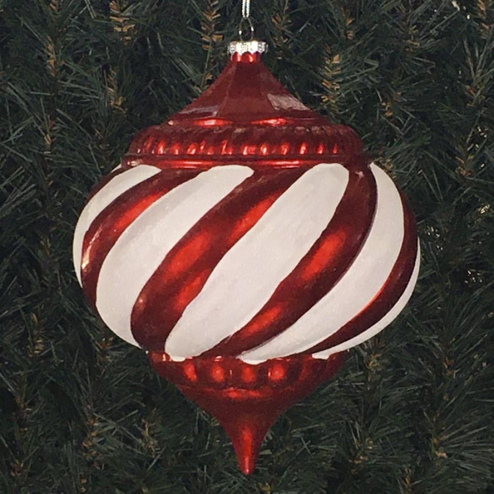 20 cm julekugle, onion, perlemor rød med hvidt glitter-01