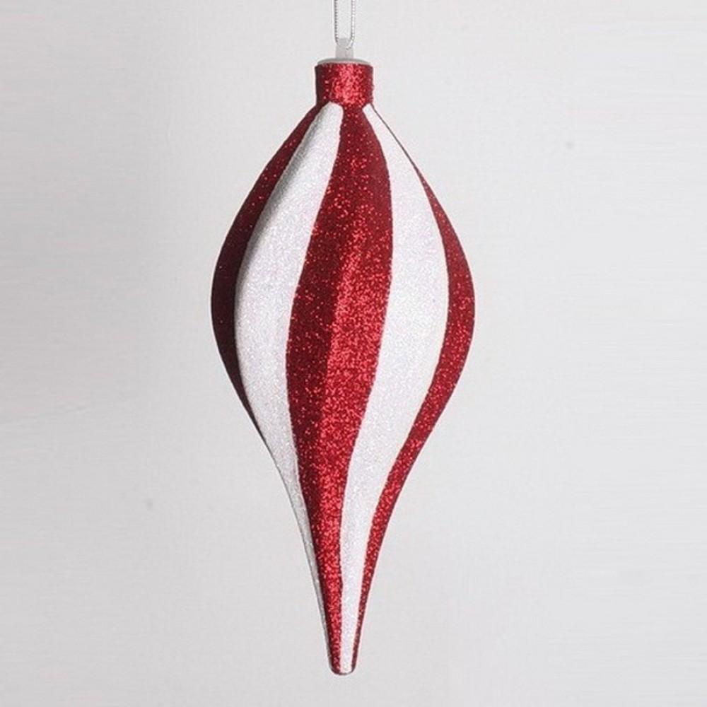20 cm spiral-top, rød med hvidt glitter-31