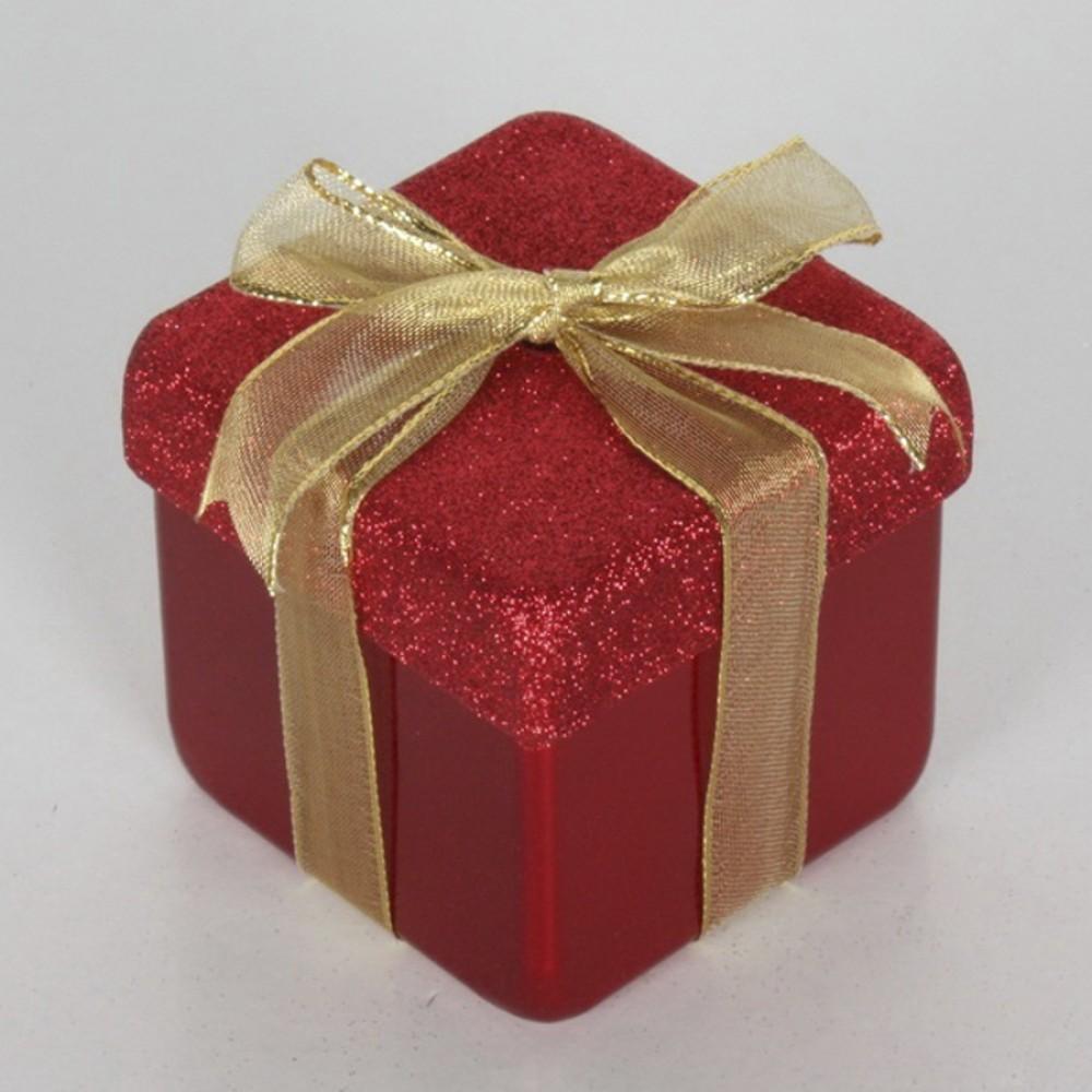 10x10 cm julegave, perlemor rød med rødt glitter og guld sløjfe-31