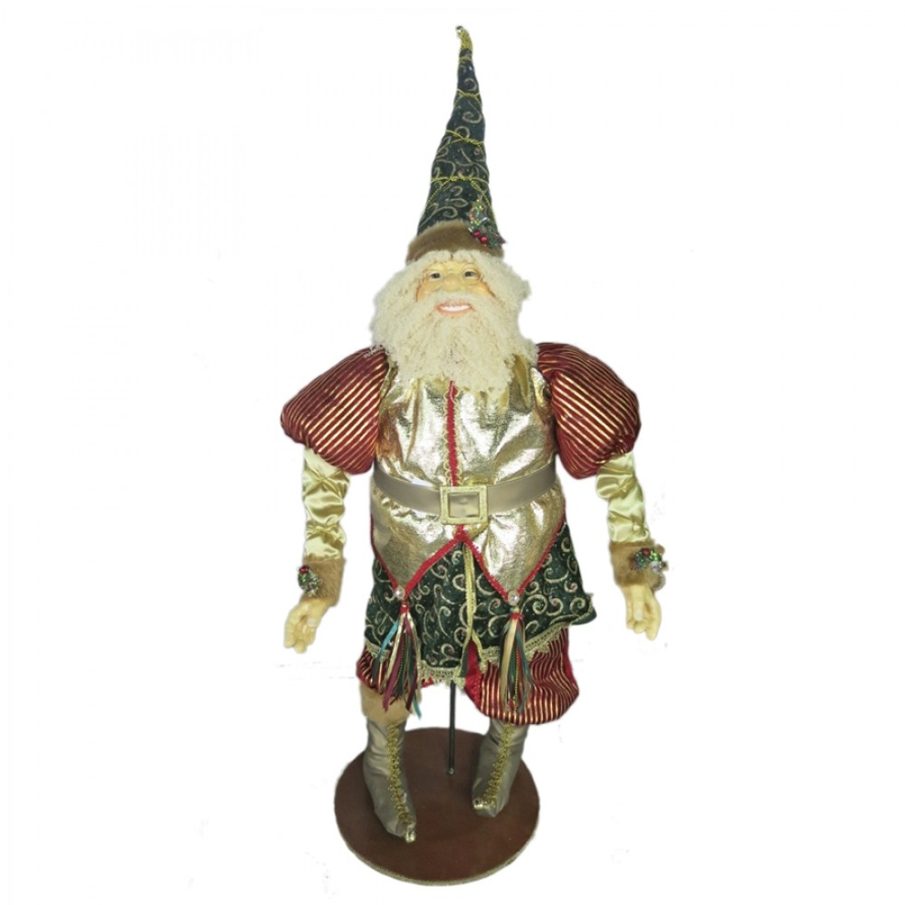 Julemand 90 cm, rød, mørk grøn, guld-31