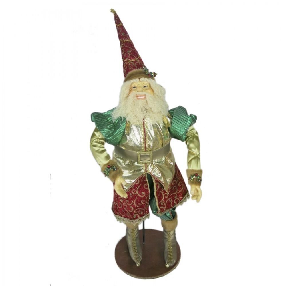 Julemand 90 cm, mørk grøn, rød, guld-31