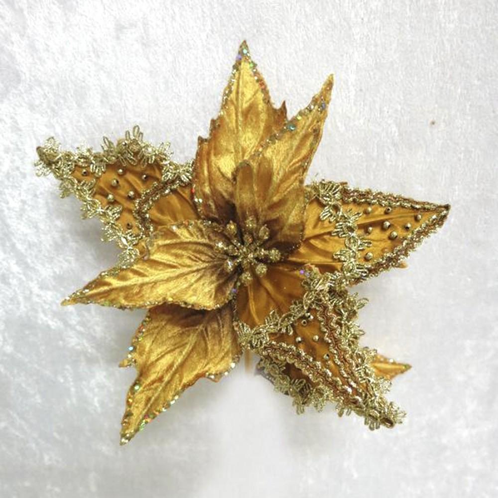 Julestjerne med clip, guld velour med guld dekoration-31