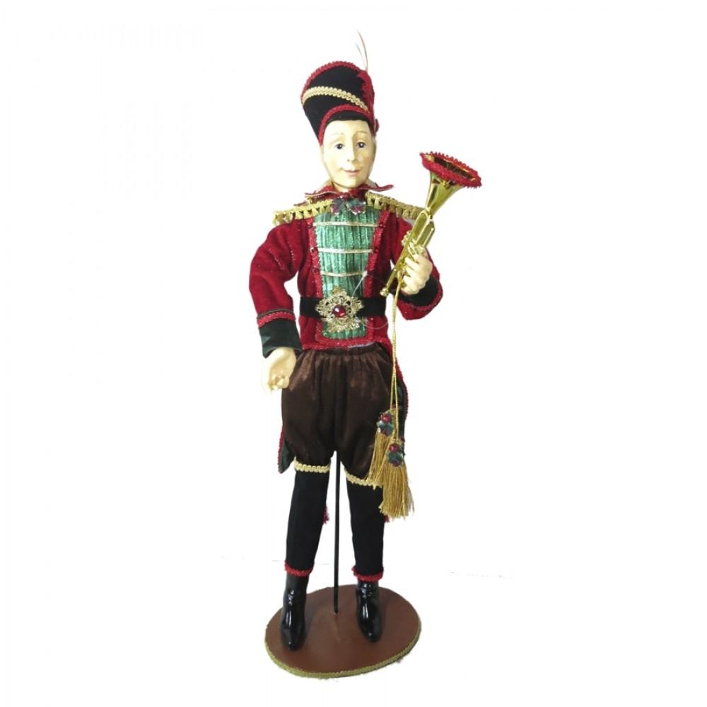 Soldat med trompet, 60 cm, rød, grøn guld, på fod-31