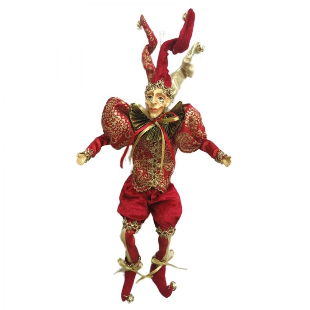 Joker dukke, 30 cm, rød med guld-31