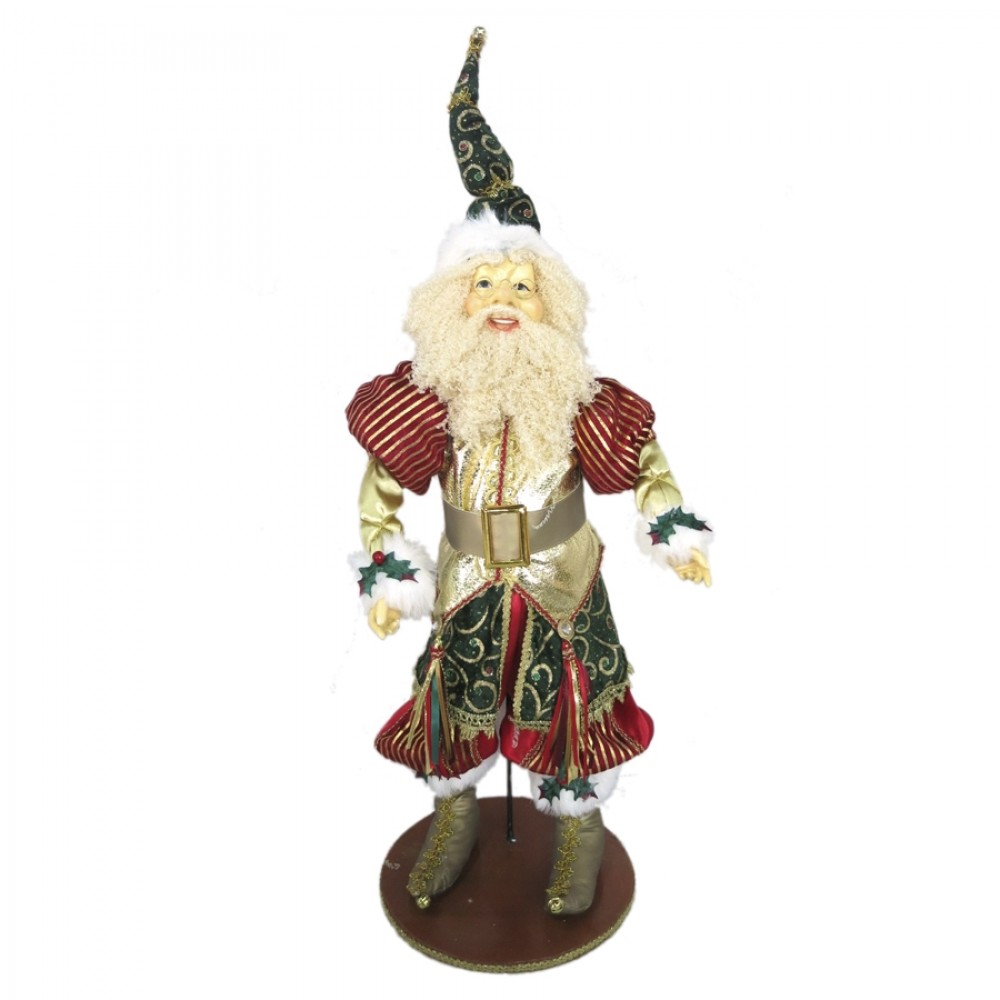 Julemand 60 cm på fod, rød, mørk grøn, guld-31