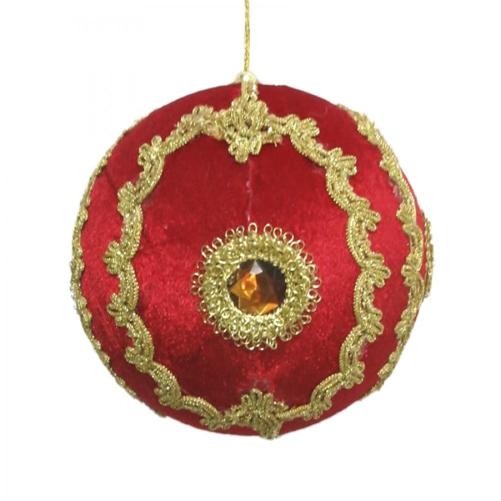 15 cm julekugle, rød velour med gulddekoration og simili-31