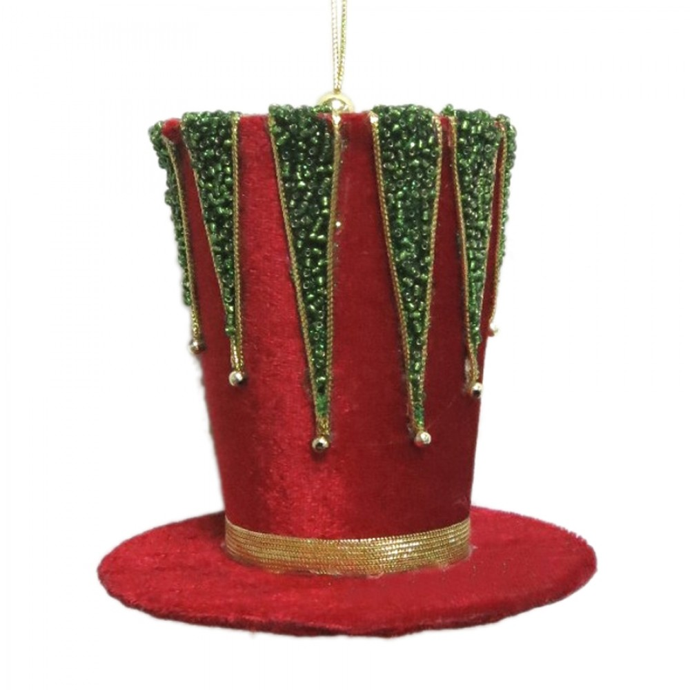 11 cm tophat ornament, rød velour med guld og grønne perler-31